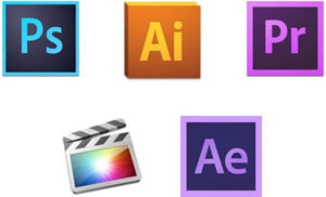 Adobe Photoshop, Illustrator, Premiere, Final Cut Pro X, After Effects
