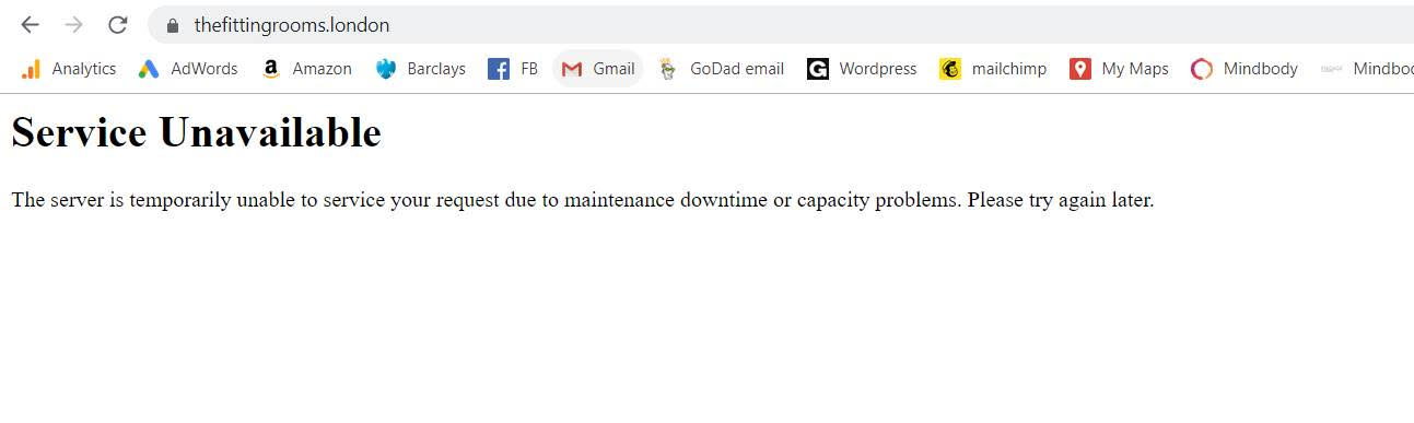 service unavailable error for WordPress websites