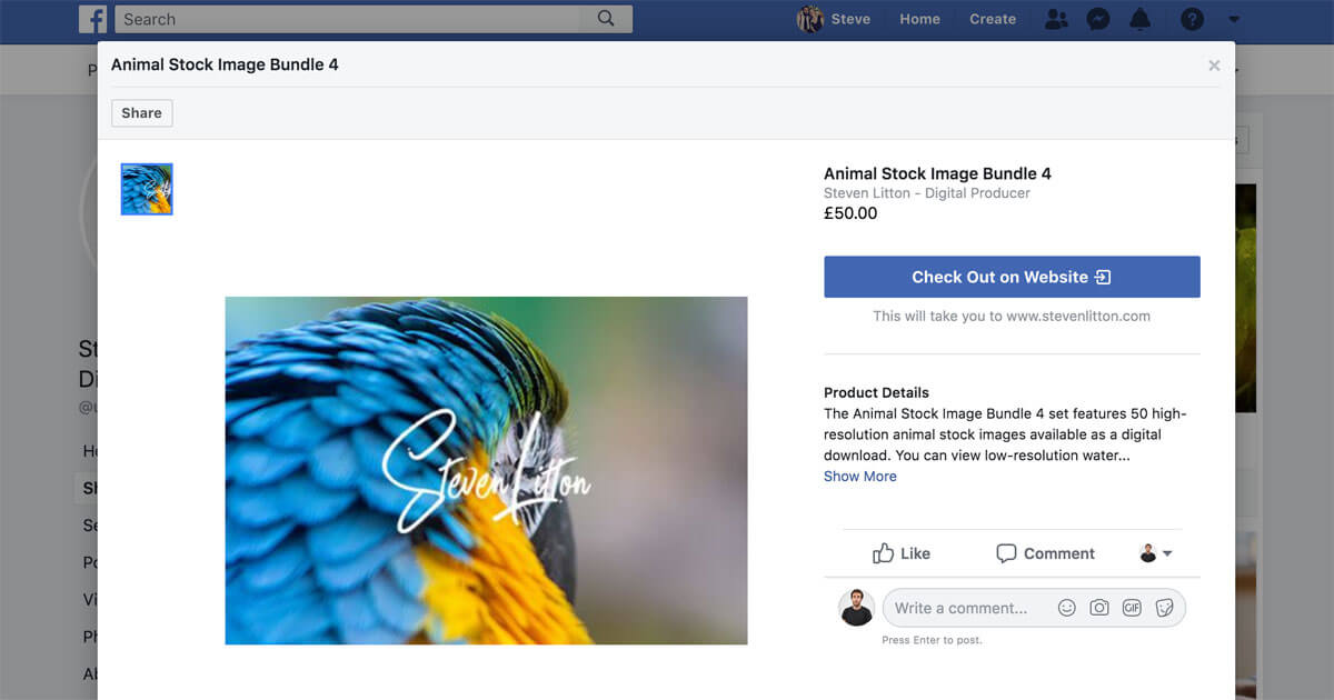 Facebook Shop Tab - Product View