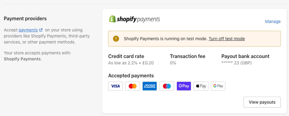 Shopify Test Payments Warning